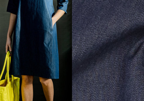 Fibre Mood Chambray Cotton Denim  Debra - dark blue