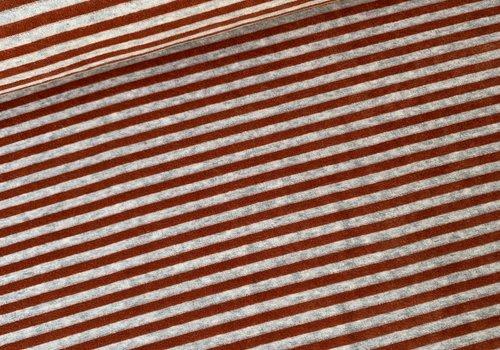 De Stoffenkamer Nicky Velours Stripes grey//rust
