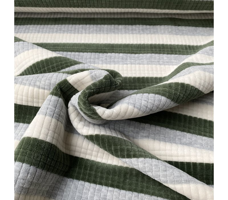 Ribbed Nicky Velours Stripes  Green