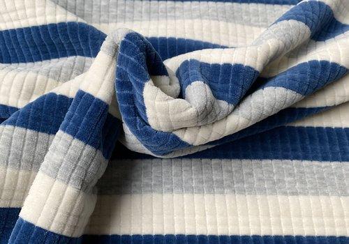 De Stoffenkamer Ribbed Nicky Velours Stripes  Blue