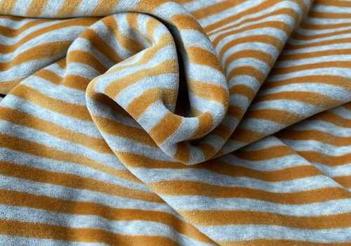 De Stoffenkamer Nicky Velours Stripes grey//warm Oker