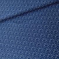Cotton Geo Lines - darkblue