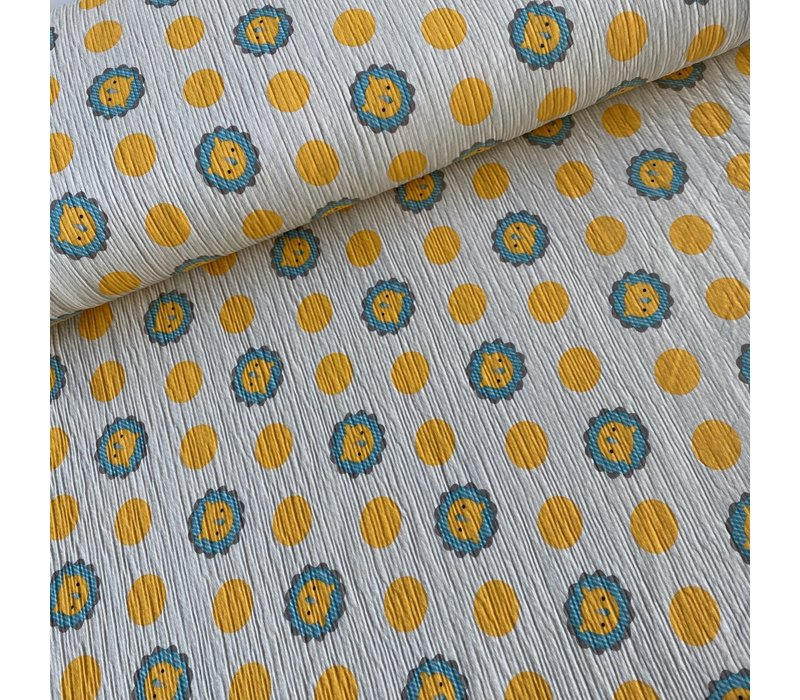 Seersucker Jersey - soft yellow lions