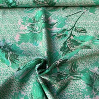 Viscose Crepe Green Flowers