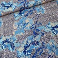 Viscose Crepe Blue Flowers