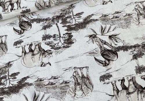 De Stoffenkamer Linen Mix White Jungle Sepia