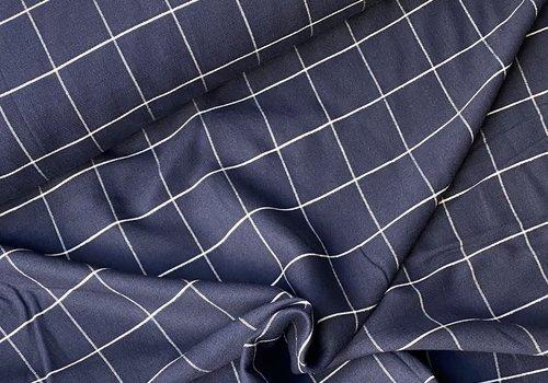 Editex Linen Mix Checks Navy Metallic