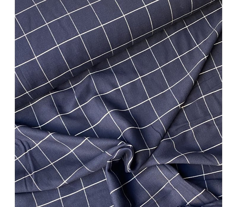 Linen Mix Checks Navy Metallic