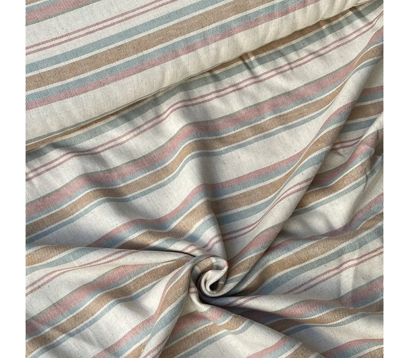 Linen Mix Ecru Lines earthy