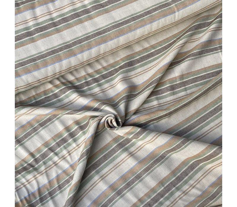 Linen Mix Ecru Lines Green