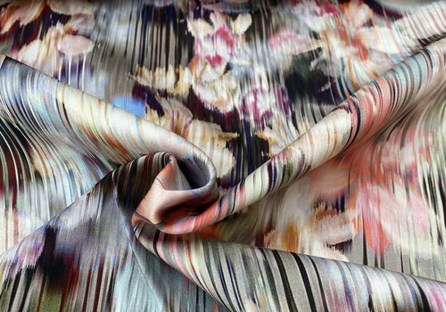 Fibre Mood Stretch Cotton Abstract Flowered Lines