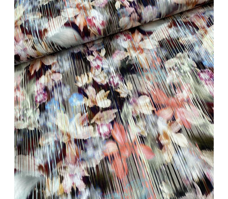 Stretch Cotton Abstract Flowered Lines