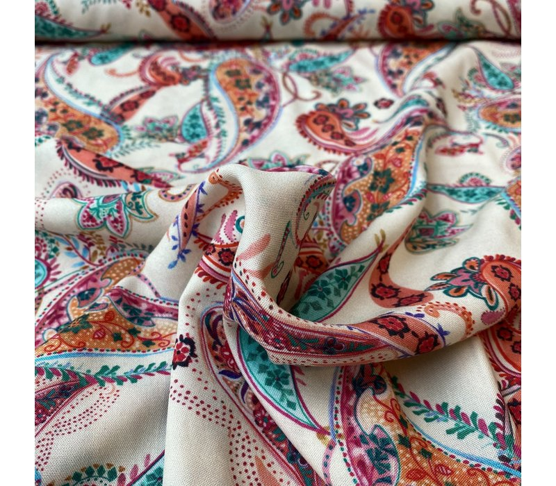 Blouse Viscose Soft Creme Paisley