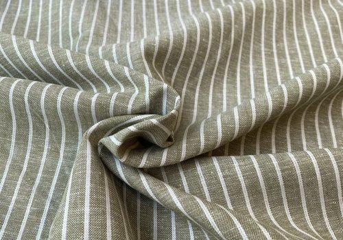 De Stoffenkamer Linen Mix Olive Stripes