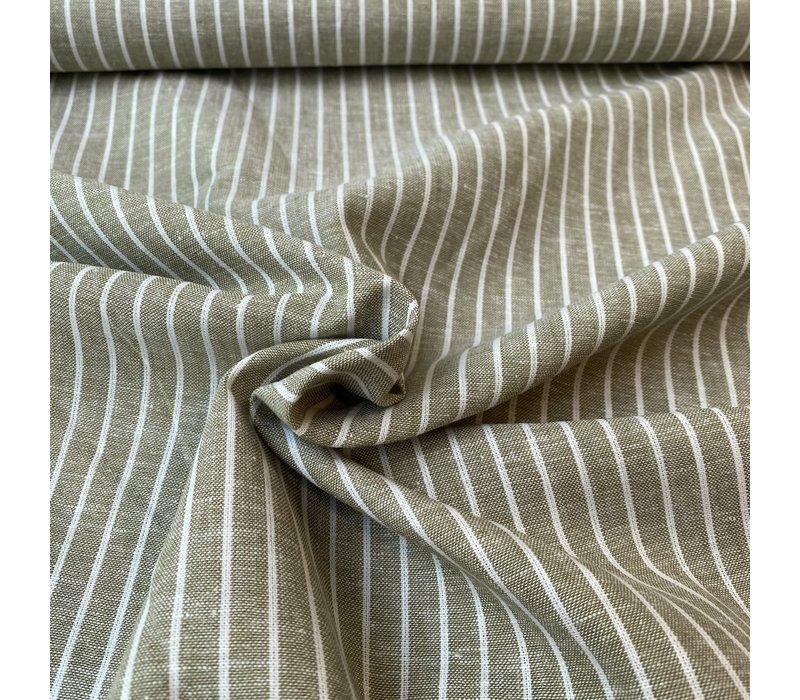 Linen Mix Olive Stripes