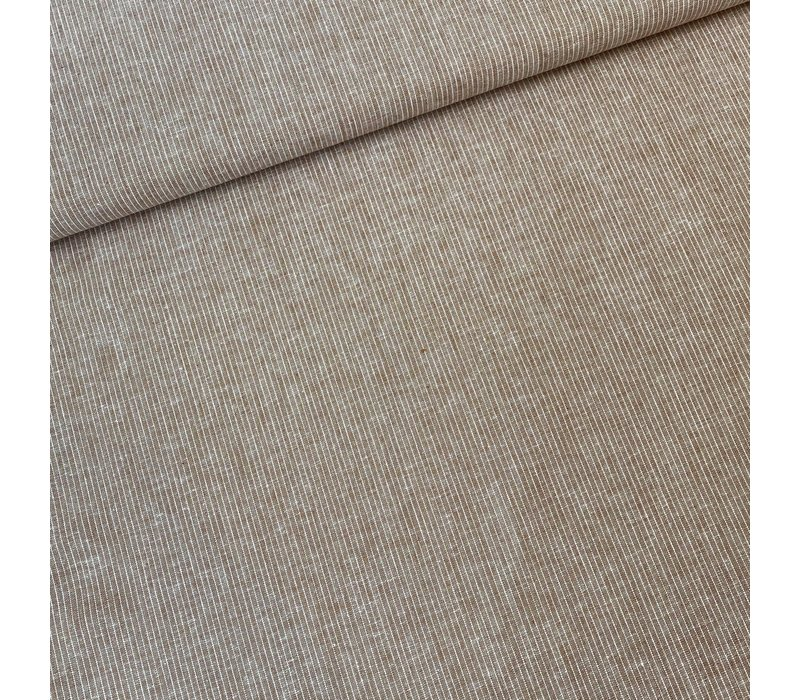 Linen Mix Nutmeg Mini Stripes