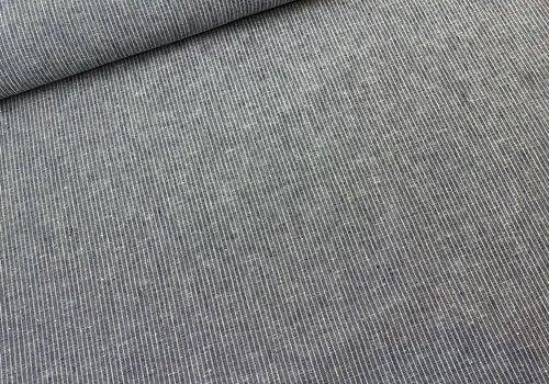 De Stoffenkamer Linen Mix Navy Mini Stripes