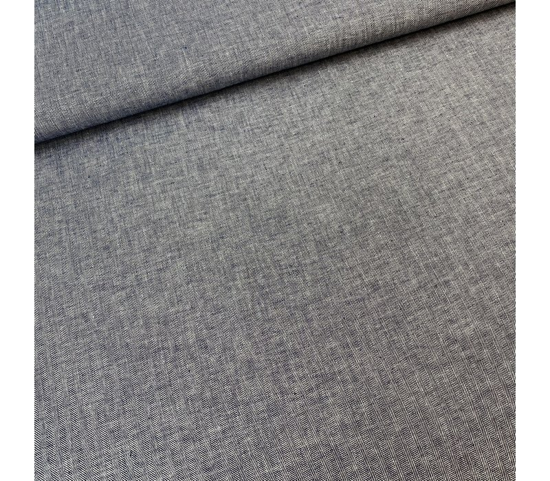 Linen Mix Navy Herringbone