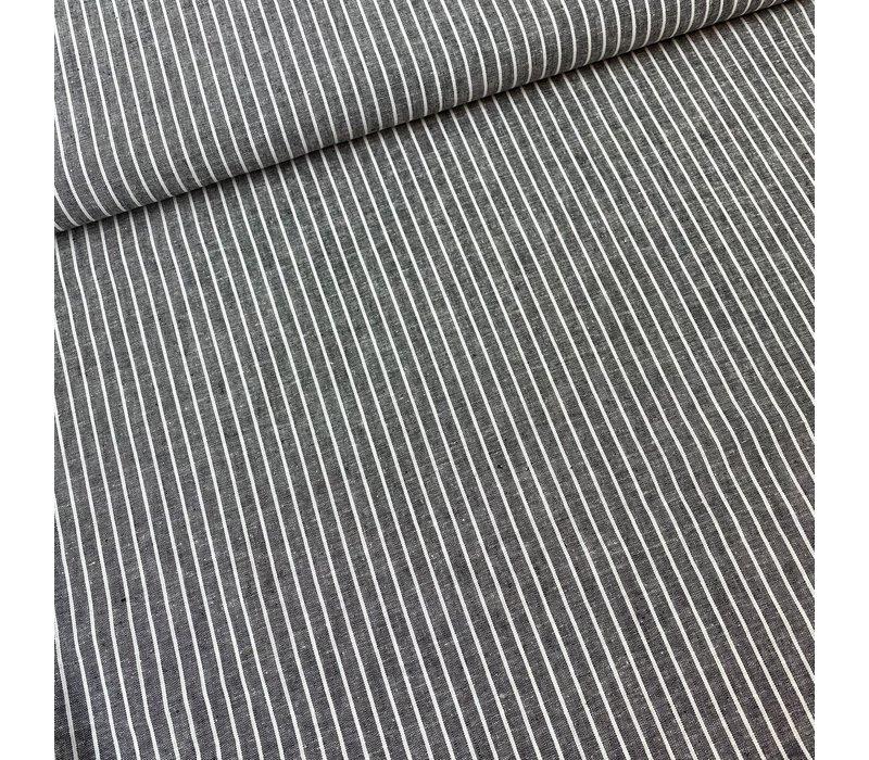 Linen Mix Melange Navy Stripes