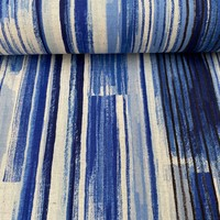 Cotton Linen Mix - blue stripes