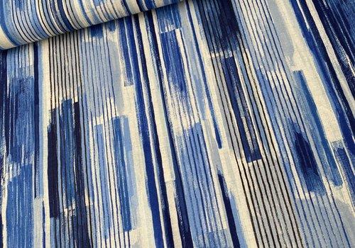 Kokka Cotton Linen Mix - blue stripes