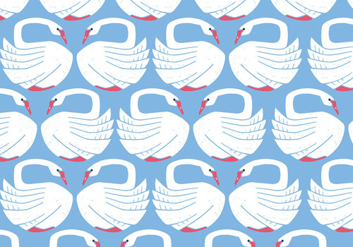 Cotton + Steel Cotton Loving Swans - clearlake
