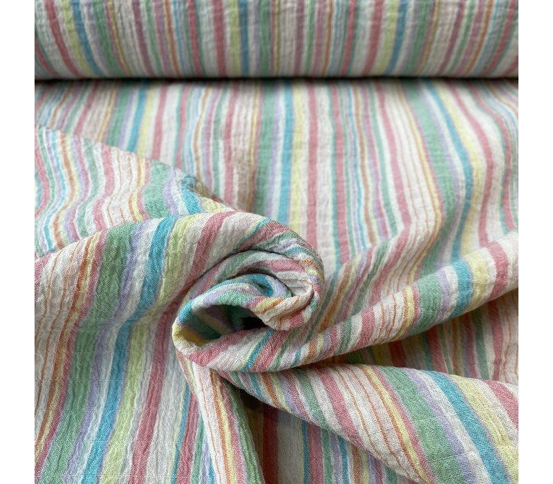 Seersucker Cotton - stripes pastel