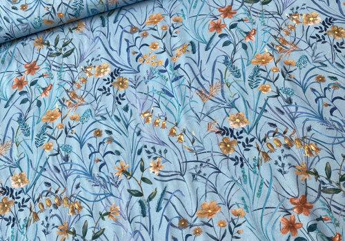 Bittoun Blouse Viscose Soft Blue Bouquet