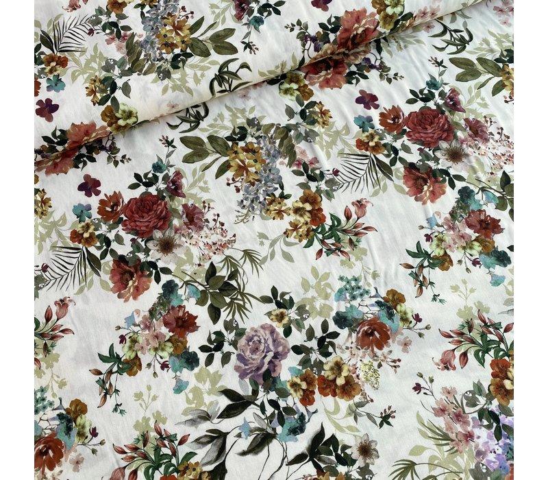 Viscose Soft Creme Spring Bouquet