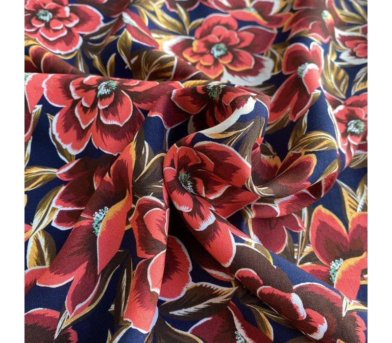 Viscose Big Spring Flowers Pink