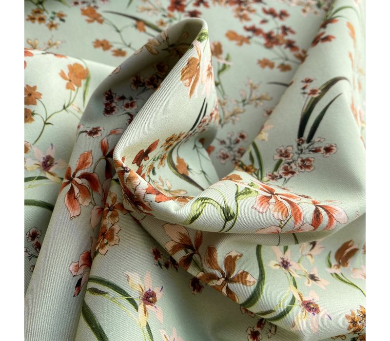 Stretch Cotton Soft Green Flowers