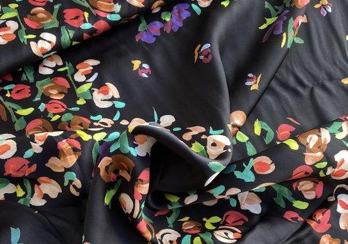 Editex Satin Black Multi Floral
