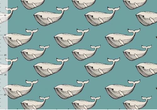 Elvelyckan Swimwear Lycra - Whales Aqua