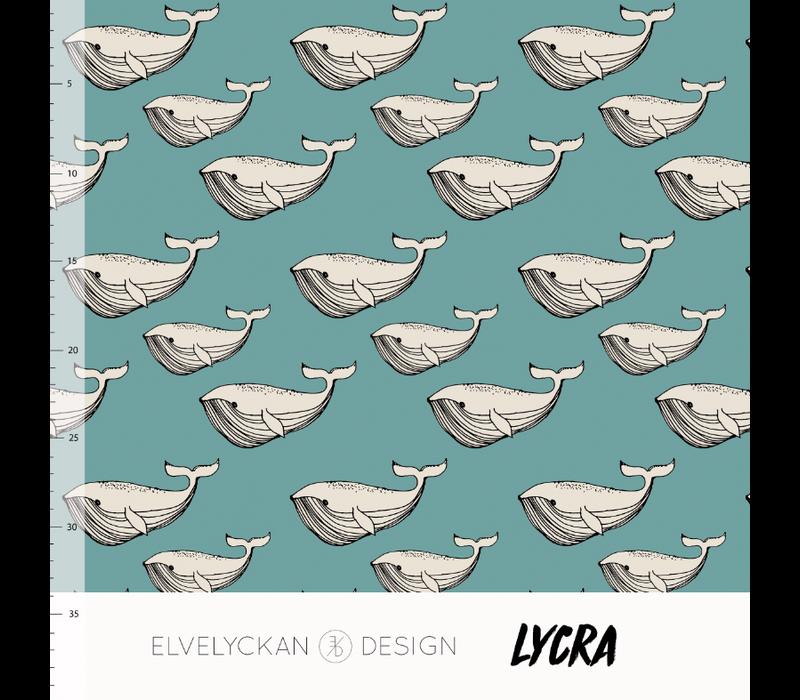 Swimwear Lycra - Whales Aqua