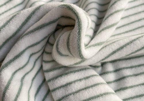 De Stoffenkamer Rekbare badstof - spons stripes sage