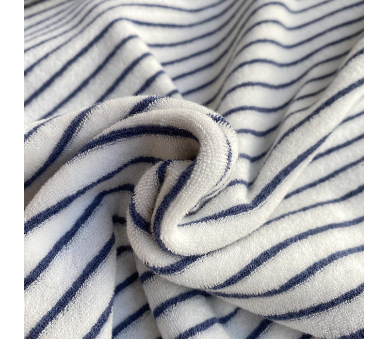 Rekbare badstof - spons stripes blue
