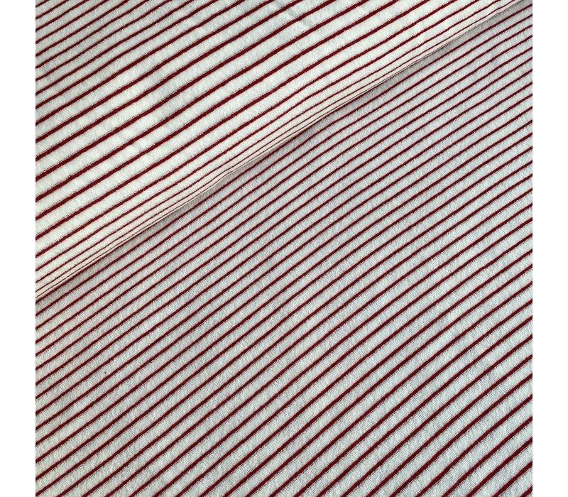 Rekbare badstof - spons stripes red