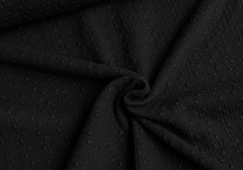 De Stoffenkamer Katoen Broderie Adèle - black