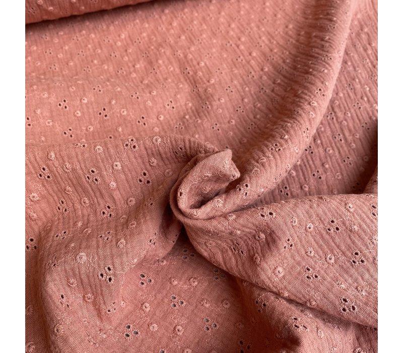 Katoen Broderie Adèle - marsala pink