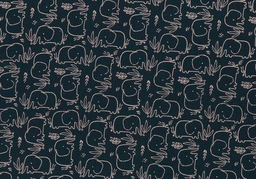 De Stoffenkamer Double Gauze Tetra Elephants navy