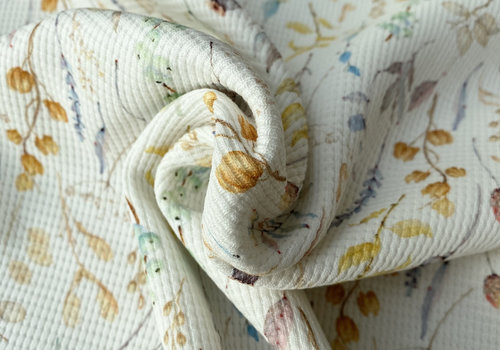 De Stoffenkamer Tricot Waffle - dried flowers creme