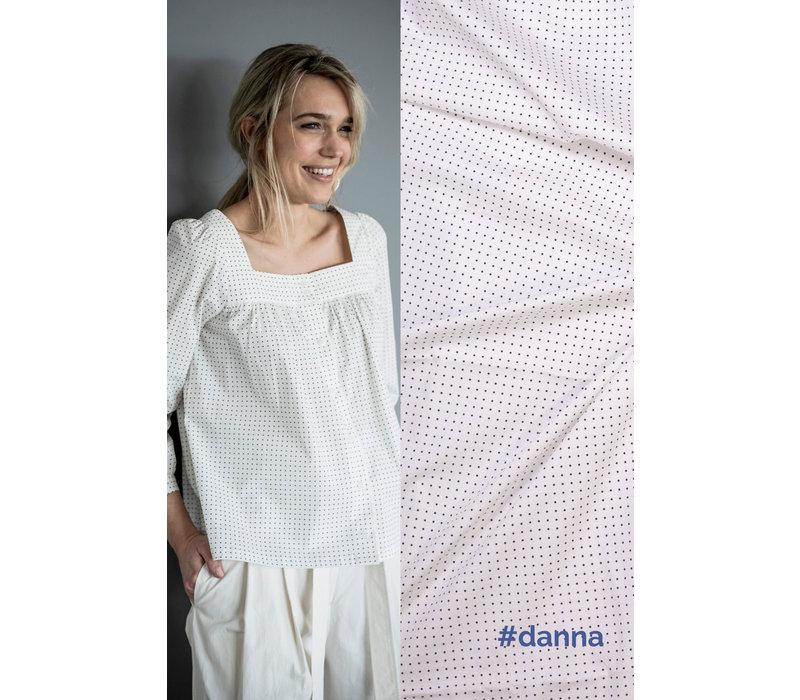 Stretch Cotton Dots White - DANNA
