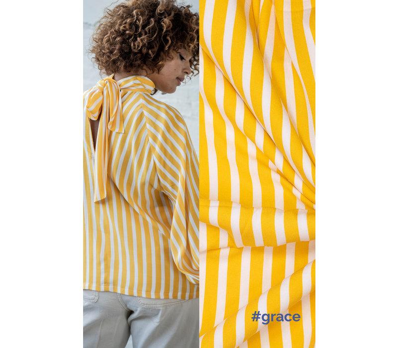 Crepe Viscose Stripes Oker - GRACE & AILA
