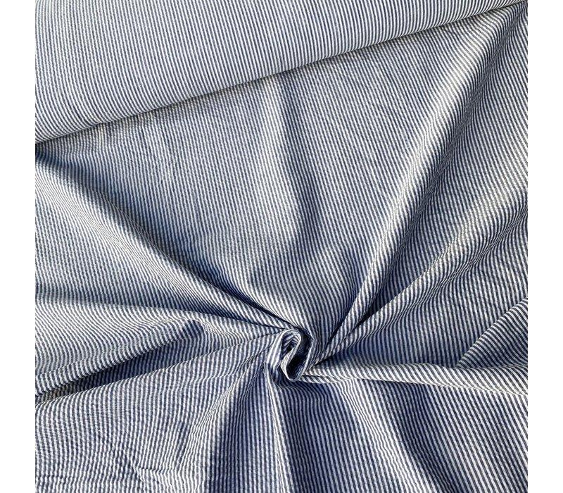 Seersucker Cotton - stripes denimblue