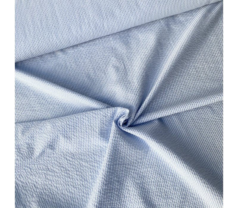 Seersucker Cotton - stripes lighblue