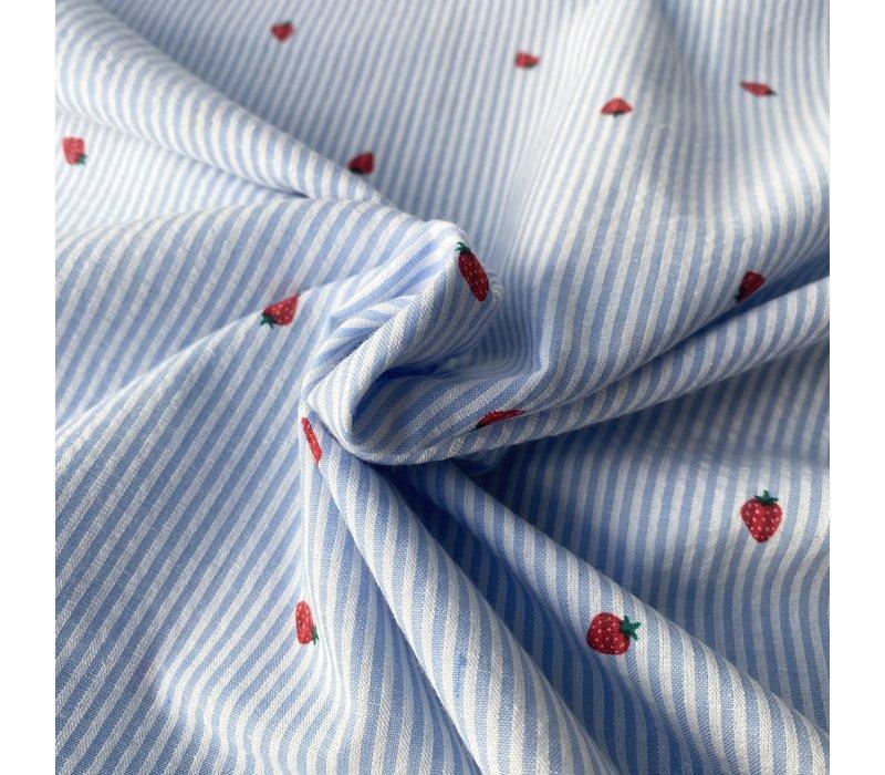 Seersucker Cotton - strawberries lightblue