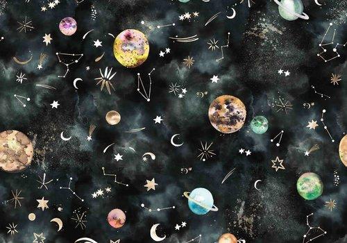 De Stoffenkamer Cotton - Black Space Universe