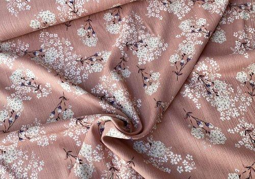 Editex Viscose Spring Flowers Old Pink metallic