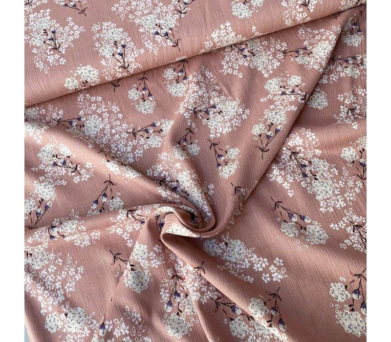 Viscose Spring Flowers Old Pink metallic