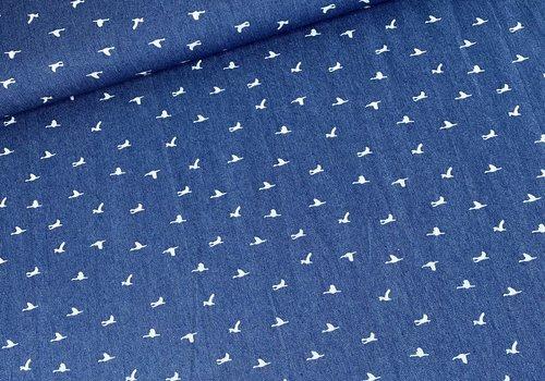Cotton Soft Denim White Birdies